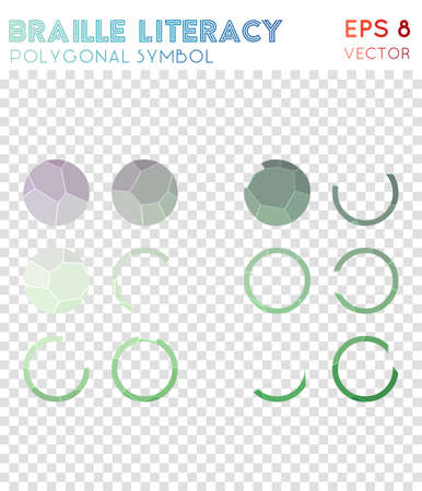 Braille polygonal symbol. Admirable mosaic style symbol. Magnificent low poly style. Modern design. Braille icon for infographics or presentation.