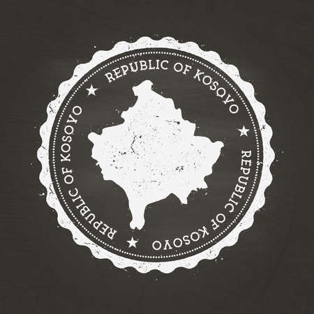 White chalk texture rubber stamp with Republic of Kosovo map on a school blackboard. Grunge rubber seal with country map outline, vector illustration.