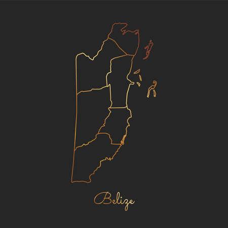 Belize region map: golden gradient outline on dark background. Detailed map of Belize regions. Vector illustration. Vetores