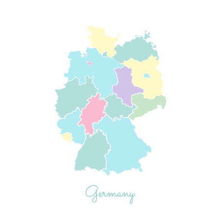 Germany region map: colorful with white outline. Detailed map of Germany regions. Vector illustration. Illusztráció