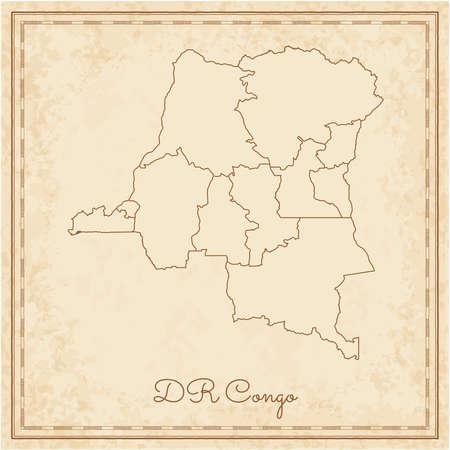 DR Congo region map: stilyzed old pirate parchment imitation. Detailed map of DR Congo regions. Vector illustration. Vektoros illusztráció
