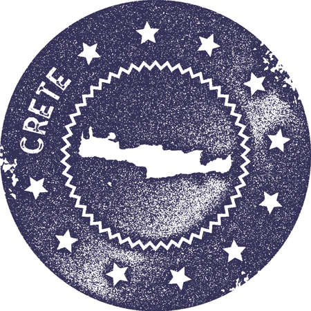 Crete map vintage stamp. Retro style handmade label, badge or element for travel souvenirs. Deep purple rubber stamp with island map silhouette. Vector illustration.