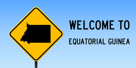 Equatorial Guinea map on road sign. Wide poster with Equatorial Guinea country map on yellow rhomb road sign. Vector illustration.
