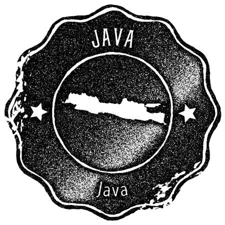 Java map vintage stamp. Retro style handmade label, badge or element for travel souvenirs. Black rubber stamp with island map silhouette. Vector illustration.