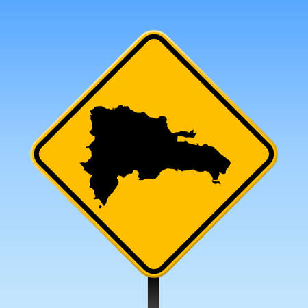 Dominicana map on road sign. Square poster with Dominicana country map on yellow rhomb road sign. Vector illustration.