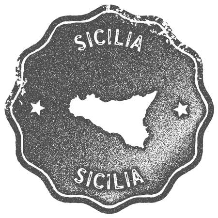 Sicilia map vintage stamp. Retro style handmade label, badge or element for travel souvenirs. Grey rubber stamp with island map silhouette. Vector illustration.