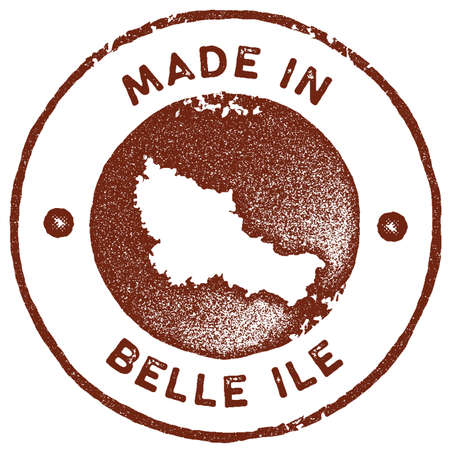 Belle Ile map vintage stamp. Retro style handmade label, badge or element for travel souvenirs. Red rubber stamp with island map silhouette. Vector illustration.