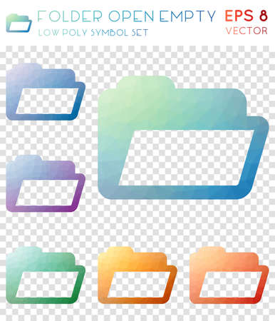 Folder open empty geometric polygonal icons. Astonishing mosaic style symbol collection. Breathtaking low poly style. Modern design. Folder open empty icons set for infographics or presentation.