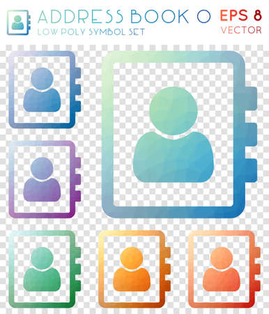 Address book o geometric polygonal icons. Adorable mosaic style symbol collection. Stylish low poly style. Modern design. Address book o icons set for infographics or presentation.