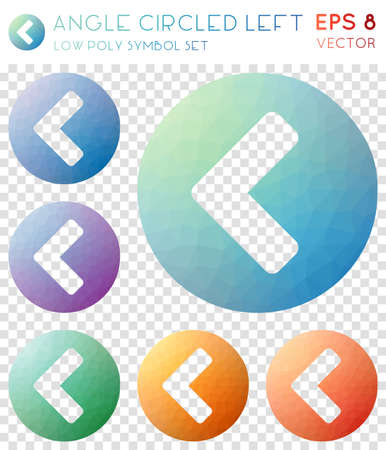 Angle circled left geometric polygonal icons. Alive mosaic style symbol collection. Bewitching low poly style. Modern design. Angle circled left icons set for infographics or presentation. Illustration
