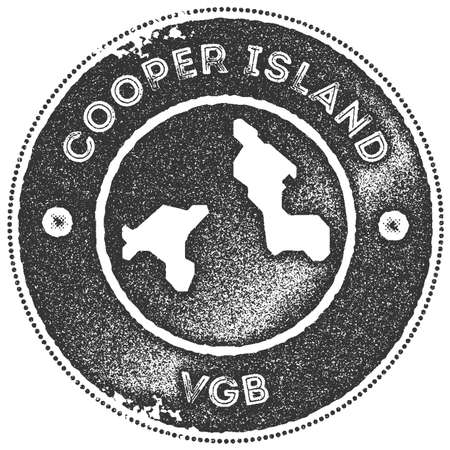 Cooper Island map vintage stamp. Retro style handmade label, badge or element for travel souvenirs. Dark grey rubber stamp with island map silhouette. Vector illustration.