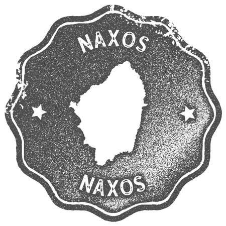 Naxos map vintage stamp. Retro style handmade label, badge or element for travel souvenirs. Grey rubber stamp with island map silhouette. Vector illustration.
