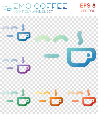 Emo coffee geometric polygonal icons. Appealing mosaic style symbol collection. Rare low poly style. Modern design. Emo coffee icons set for infographics or presentation. Ilustração
