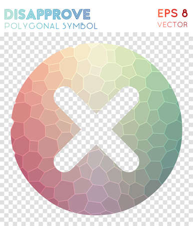Disapprove polygonal symbol. Adorable mosaic style symbol. Authentic low poly style. Modern design. Disapprove icon for infographics or presentation. Illustration