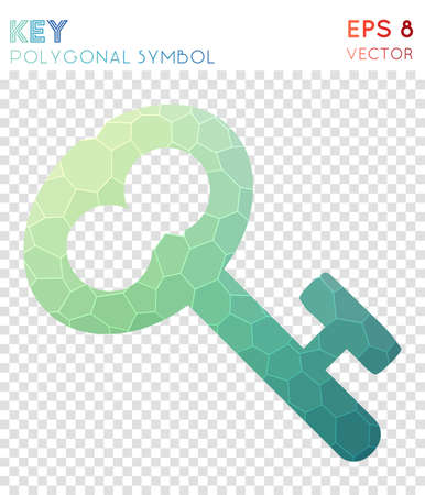 Key polygonal symbol. Artistic mosaic style symbol. Bold low poly style. Modern design. Key icon for infographics or presentation.