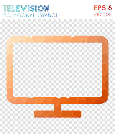 Television polygonal symbol. Beautiful mosaic style symbol. Imaginative low poly style. Modern design. Television icon for infographics or presentation. Illustration