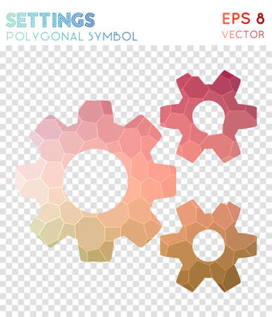 Cog alt polygonal symbol. Alive mosaic style symbol. Eminent low poly style. Modern design. Cog alt icon for infographics or presentation. Vector Illustration