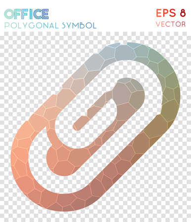 Attach polygonal symbol. Actual mosaic style symbol. Noteworthy low poly style. Modern design. Attach icon for infographics or presentation.