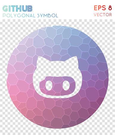 Github circled polygonal symbol. Amusing mosaic style symbol. Overwhelming low poly style. Modern design. Github circled icon for infographics or presentation.