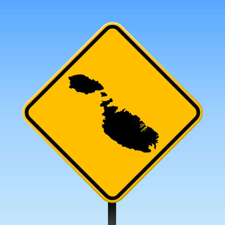 Malta map on road sign. Square poster with Malta island map on yellow rhomb road sign. Vector illustration. Иллюстрация