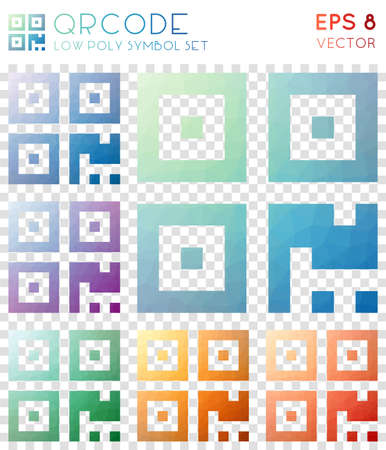 Qrcode geometric polygonal icons. Beautiful mosaic style symbol collection. Optimal low poly style. Modern design. Qrcode icons set for infographics or presentation.