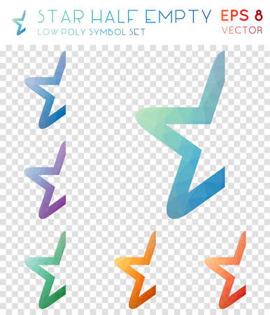 Star half empty geometric polygonal icons. Bizarre mosaic style symbol collection. Pleasant low poly style. Modern design. Star half empty icons set for infographics or presentation.
