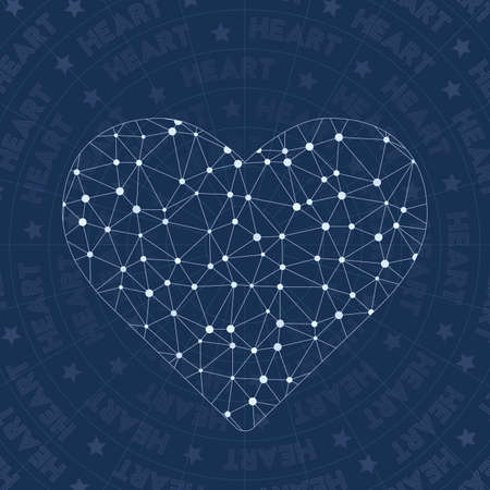 Heart network symbol. Alluring constellation style symbol. Energetic network style. Modern design. Heart symbol for infographics or presentation.