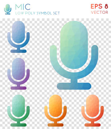 Mic geometric polygonal icons. Awesome mosaic style symbol collection. Outstanding low poly style. Modern design. Mic icons set for infographics or presentation.