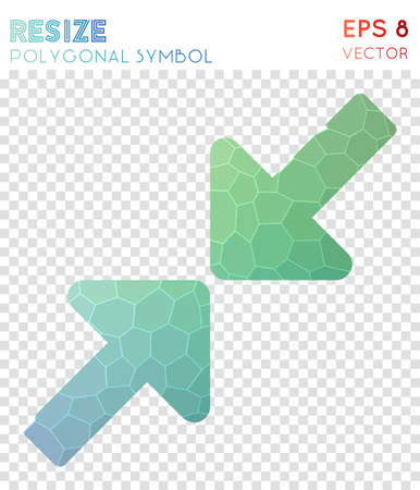 Resize small polygonal symbol. Awesome mosaic style symbol. Extraordinary low poly style. Modern design. Resize small icon for infographics or presentation.