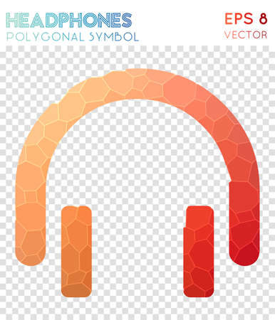 Headphones polygonal symbol. Appealing mosaic style symbol. Dramatic low poly style. Modern design. Headphones icon for infographics or presentation.