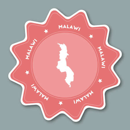 Malawi map sticker in trendy colors. Star shaped travel sticker with country name and map. Can be used as logo, badge, label, tag, sign, stamp or emblem. Travel badge vector illustration. Illustration