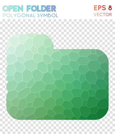 Folder polygonal symbol. Amusing mosaic style symbol. Exotic low poly style. Modern design. Folder icon for infographics or presentation.