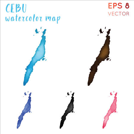 Cebu watercolor island map. Handpainted watercolor Cebu map set. Vector illustration. 向量圖像
