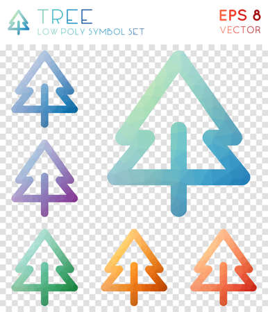 Tree geometric polygonal icons. Breathtaking mosaic style symbol collection. Admirable low poly style. Modern design. Tree icons set for infographics or presentation.