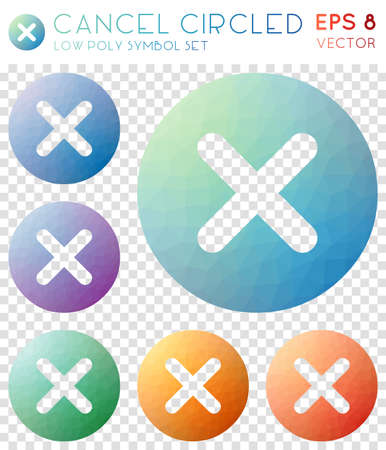 Cancel circled geometric polygonal icons. Alluring mosaic style symbol collection. Tempting low poly style. Modern design. Cancel circled icons set for infographics or presentation.