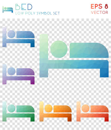 Bed geometric polygonal icons. Alive mosaic style symbol collection. Terrific low poly style. Modern design. Bed icons set for infographics or presentation.
