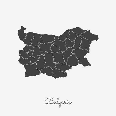 Bulgaria region map: grey outline on white background. Detailed map of Bulgaria regions. Vector illustration.