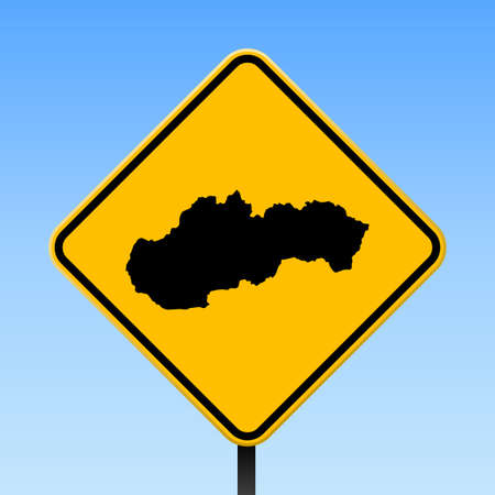 Slovakia map on road sign. Square poster with Slovakia country map on yellow rhomb road sign. Vector illustration. Illusztráció