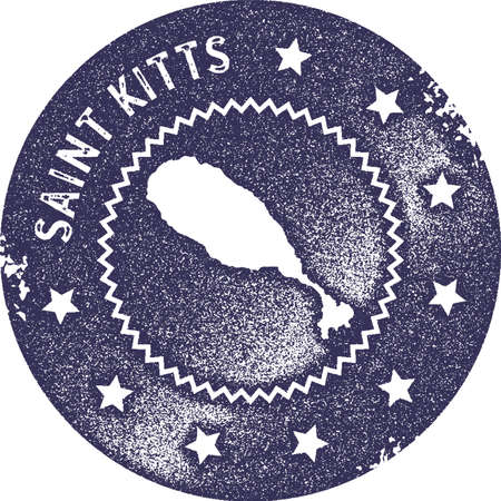 Saint Kitts map vintage stamp. Retro style handmade label, badge or element for travel souvenirs. Deep purple rubber stamp with island map silhouette. Vector illustration. Ilustracja