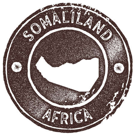 Somaliland map vintage stamp. Retro style handmade label, badge or element for travel souvenirs. Brown rubber stamp with country map silhouette. Vector illustration.