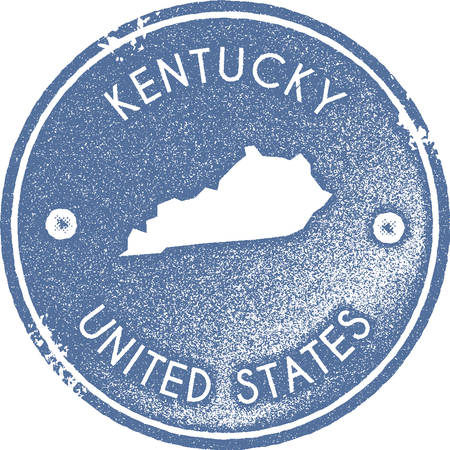Kentucky map vintage stamp. Retro style handmade label, badge or element for travel souvenirs. Light blue rubber stamp with us state map silhouette. Vector illustration.