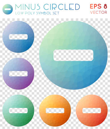 Minus circled geometric polygonal icons. Awesome mosaic style symbol collection. Shapely low poly style. Modern design. Minus circled icons set for infographics or presentation. Illusztráció
