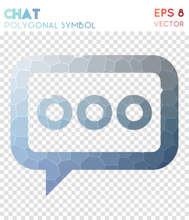 Chat polygonal symbol. Adorable mosaic style symbol. Modern low poly style. Modern design. Chat icon for infographics or presentation.