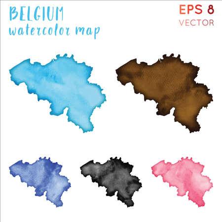 België aquarel landkaart. Handbeschilderd aquarel België kaart set. Vector illustratie. Vector Illustratie