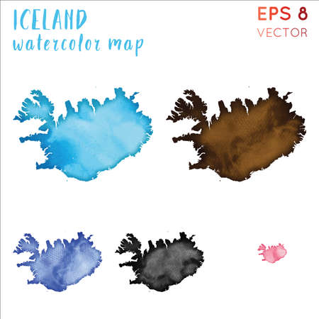Iceland watercolor country map. Handpainted watercolor Iceland map set. Vector illustration. Vektorové ilustrace