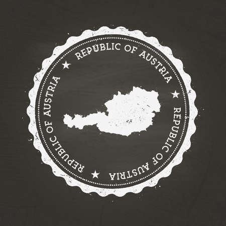 White chalk texture rubber stamp with Republic of Austria map on a school blackboard. Grunge rubber seal with country map outline, vector illustration.