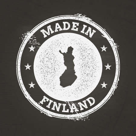 White chalk texture made in stamp with Republic of Finland map on a school blackboard. Grunge rubber seal with country map outline, vector illustration.