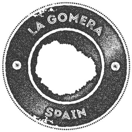 La Gomera map vintage stamp. Retro style handmade label, badge or element for travel souvenirs. Dark grey rubber stamp with island map silhouette. Vector illustration.