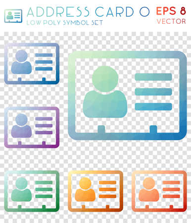 Address card o geometric polygonal icons. Adorable mosaic style symbol collection. Superb low poly style. Modern design. Address card o icons set for infographics or presentation.
