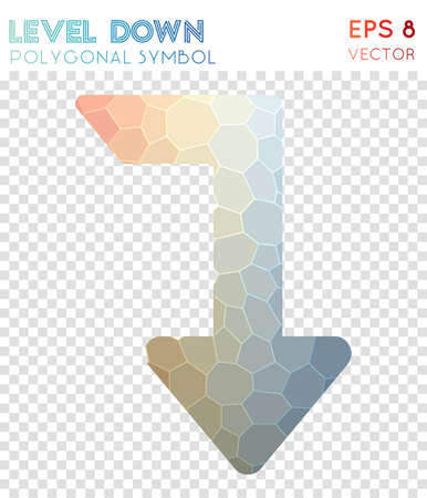 Level down polygonal symbol. Artistic mosaic style symbol. Mind-blowing low poly style. Modern design. Level down icon for infographics or presentation.